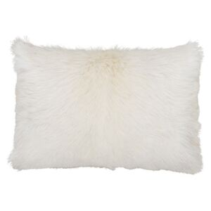 Perna decorativa dreptunghiulara crem din blana si poliester 30x50 cm Goat Fur LifeStyle Home Collection