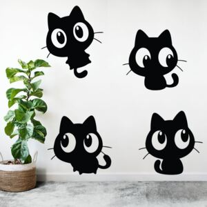 Sticker Decorativ 4 Pisici Negre, 47x47 cm, Negru, Oracal