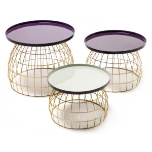 Set 3 masute de cafea rotunde din metal Laudatio 50x50x42 cm mov/lila/gri deschis