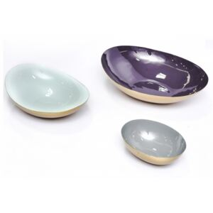 Set 3 boluri decorative din metal Yuna, mov/verde menta/gri