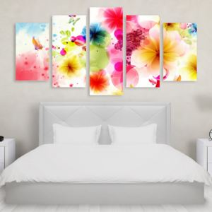 Tablou Multicanvas 5 Piese Abstract Flowers
