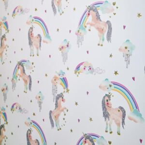 Arthouse Tapet - Rainbow Unicorn Rainbow Unicorn White