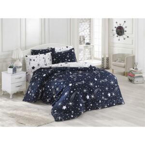 Lenjerie pat 1 persoana, 3 piese, Eponj Home, Halley - Dark Blue