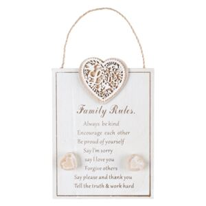 Tableta din lemn decorativa Family Rules 14.5x20 cm