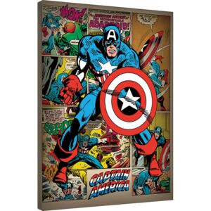 Captain America - Retro Tablou Canvas, (60 x 80 cm)