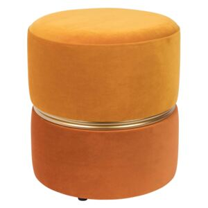 Puf catifea orange Ø35 cm Stool Bubbly Sun | WHITE LABEL LIVING