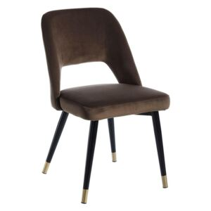 Scaun dining din catifea maro Chair Coffe Fabric-Metal