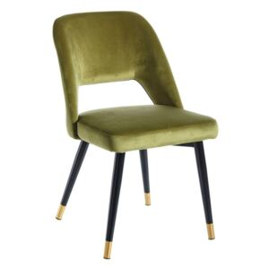 Scaun dining din catifea verde Chair Green Fabric-Metal