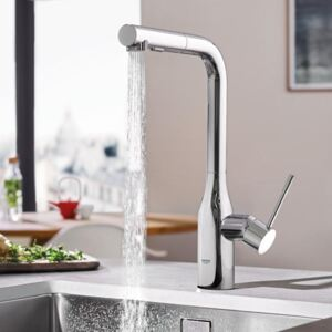 Baterie bucatarie, dus extractabil Grohe Essence New, cartus ceramic, dual-spray, anti-calcar, crom-30270000