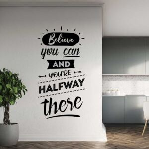 GLIX Believe you can - autocolant de perete Negru 40x20 cm
