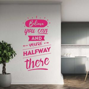 GLIX Believe you can - autocolant de perete Roz 40x20 cm
