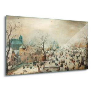 GLIX Tablou pe sticlă - Winter Landscape With Skaters, Hendrick Avercamp 4 x 30x80 cm