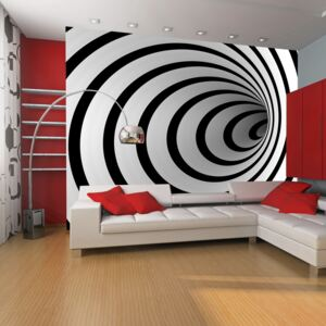 Fototapet Bimago - Black and white 3D tunnel + Adeziv gratuit 450x270 cm
