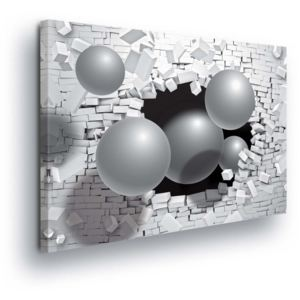 GLIX Tablou - White Wall with Silver Balls 100x75 cm