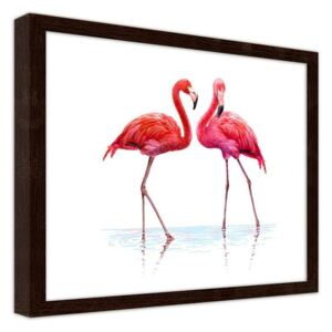 CARO Imagine în cadru - A Realistic Illustration Of Flamingos Standing In The Water 29,7x21 cm Maro