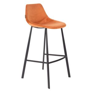 Scaun de bar (H-106cm) din catifea orange Barstool Franky Velvet Orange