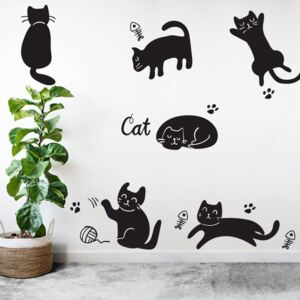 Sticker Decorativ 6 Pisici Negre, 47x47 cm, Negru, Oracal