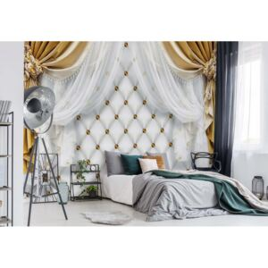 Fototapet GLIX - Golden Curtains Luxury Effect 2 + adeziv GRATUIT Tapet nețesute - 312x219 cm