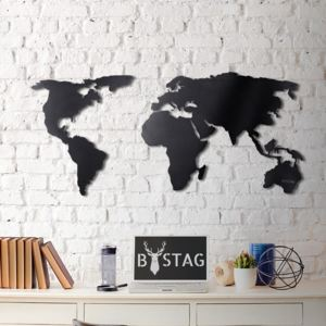 Decorațiune din metal pentru perete Black Map, 60 x 120 cm