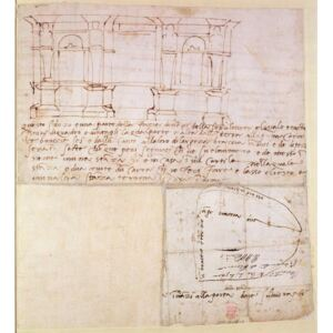 W.23r Architectural sketch with notes Reproducere, Michelangelo Buonarroti