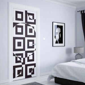 GLIX Tapet netesute pe usă - Modern Geometric Pattern Black And White