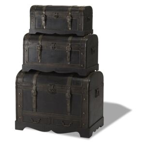 Set 3 cutii din lemn decorative Furnhouse Trunks Shadow