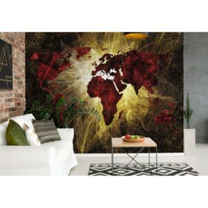 Fototapet GLIX - World Map Lights + adeziv GRATUIT Papírová tapeta - 368x254 cm