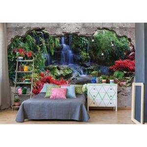 Fototapet GLIX - Waterfall Forest 3D Hole In Wall + adeziv GRATUIT Tapet nețesute - 416x254 cm