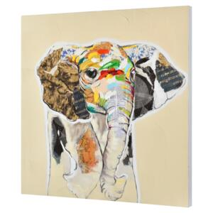 [art.work] Tablou pictat manual - elefant Model 60 - panza in, cu rama ascunsa - 80x80x3,8cm