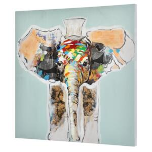 [art.work] Tablou pictat manual - elefant Model 13 - panza in, cu rama ascunsa - 80x80x3,8cm
