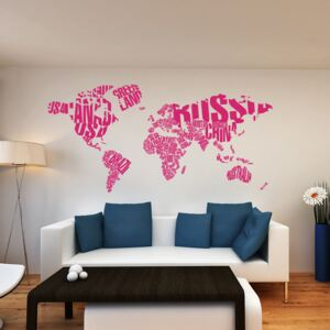 GLIX World map - autocolant de perete Roz 200 x 100 cm