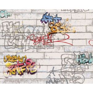 Tapet de hartie Boys & Girls model graffiti gri 10,05x0,53 m