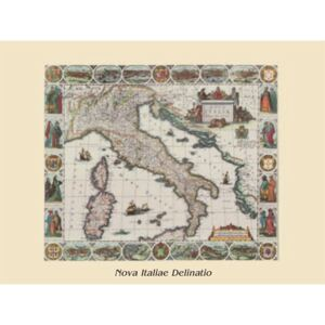 Map of Italy - vintage Reproducere, Mappe, (80 x 60 cm)