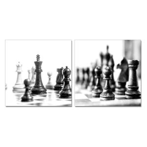 Chess - Black and White World Tablou, (240 x 120 cm)