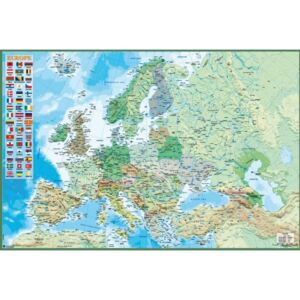 Map of Europe - Political and physical Poster, (91,5 x 61 cm)