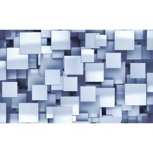 Abstract Squares Modern Blue Fototapet, (104 x 70.5 cm)