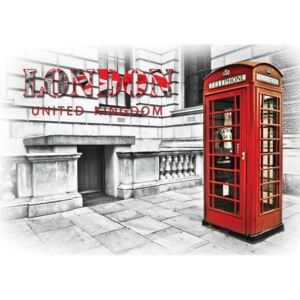 City London Telephone Box Red Fototapet, (254 x 184 cm)