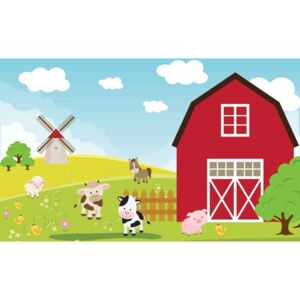 Farm Cartoon Boys Bedroom Fototapet, (104 x 70.5 cm)