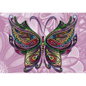Butterfly Flowers Abstract Colours Fototapet, (104 x 70.5 cm)