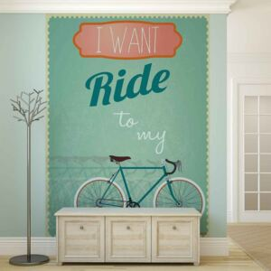 Racing Bicycle Retro Fototapet, (184 x 254 cm)