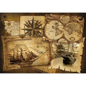 Vintage Ships and Maps Fototapet, (152.5 x 104 cm)