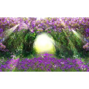 Flowers Purple Forest Light Beam Nature Fototapet, (104 x 70.5 cm)