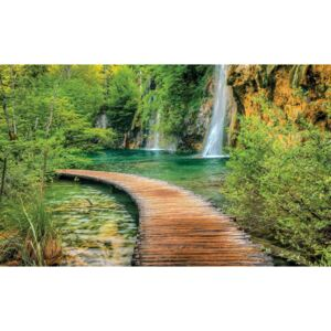 Path Sea Mountains Waterfall Forest Fototapet, (104 x 70.5 cm)