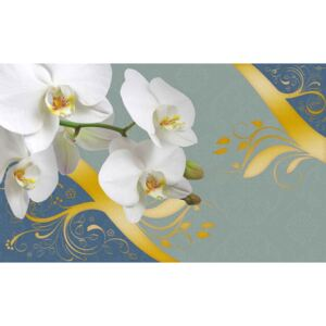 Pattern Flowers Orchids Abstract Fototapet, (104 x 70.5 cm)