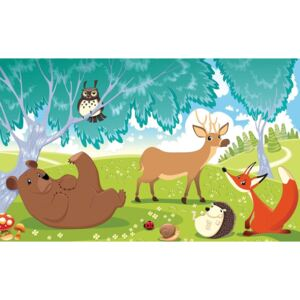 Animals In Forest Fototapet, (152.5 x 104 cm)