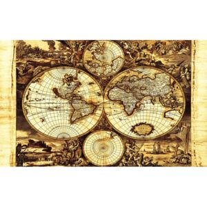 World Map Vintage Fototapet, (152.5 x 104 cm)