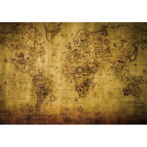 Sepia World Map Vintage Fototapet, (104 x 70.5 cm)