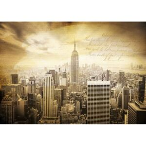 City New York Vintage Sepia Fototapet, (104 x 70.5 cm)