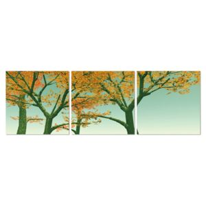 Yellow leaves on a tree Tablou, (120 x 40 cm)