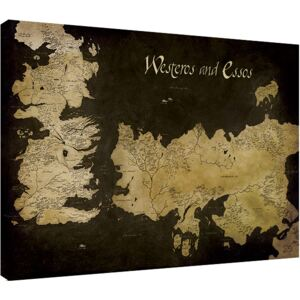 Tablou Canvas Game of Thrones - Westeros and Essos Antique Map, (80 x 60 cm)